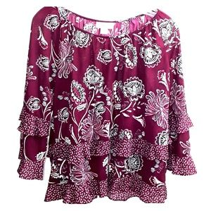 Style & Co Ruffle Top Blouse Floral Boho Burgundy